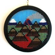 Volcanic Skyline 070702 - a framed loom weaving by Mike Smetzer