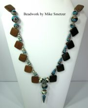 Necklace with Wood Squares & Native American Beads by Mike Smetzer