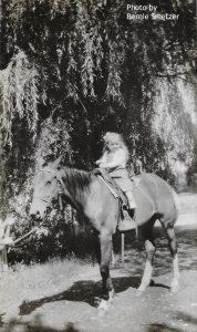 My sister Rose on a horse. Late 1940's. Photo by Bernie Smetzer.